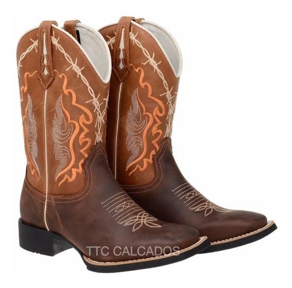 Bota Texana Country Bordada Modelo Novo Ttc93 Arame