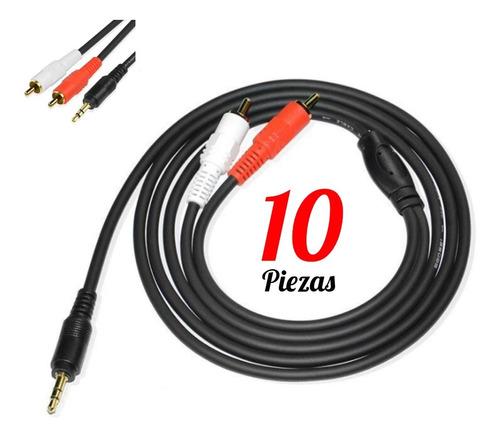 Imagen 1 de 9 de Lote 10 Cables De Audio Auxiliar Plug Jack 3.5 A Rca