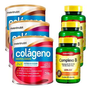 Kit 3 Colágenos Hidrolisado 2 Em 1 - 250 Gramas + 3 Complexo B - 60 Cápsulas - Maxinutri
