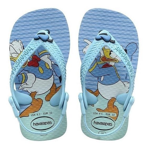 Chinelo Havaianas Baby Disney Classics Ice Blue Pato Donald