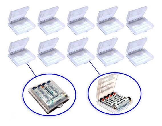 Kit 10 Unidades Case, Estojo Ou Porta Pilhas Aa / Aaa