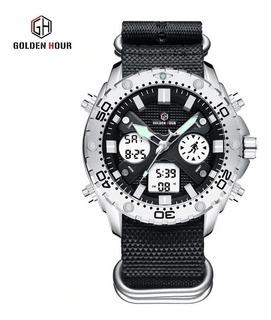 Reloj Golden 122pn Hour Deportivo Nylon Cronometro Alarma Fecha Caja De Regalo