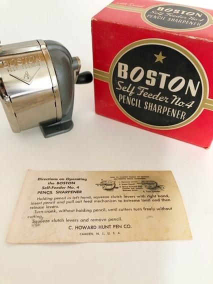 Apontador De Lápis Antigo Boston Self Feeder N°4 Anos 40/50