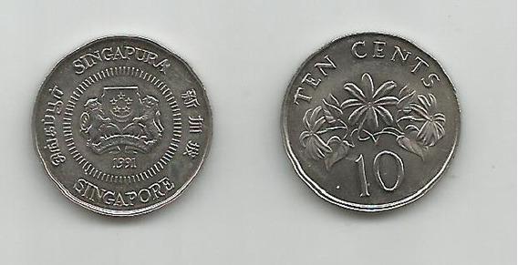 Moneda Singapur 10 C. 1991 Muy Buena