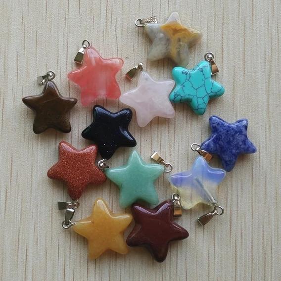 5 Dijes Estrella 7 Chakras Reiki Piedra Natural Con Collar