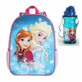 Mochila Infantil Frozen Sisters Com Garrafa Cantil
