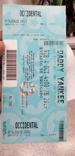 Boletas Daddy Yankee Occidental