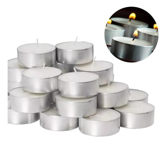 Velas De Noche Blancas Chapitas Portavelas Pack X50