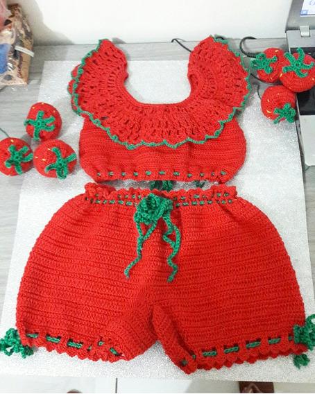 Conjunto De Crochê Infantil Short + Cropped + Morangos