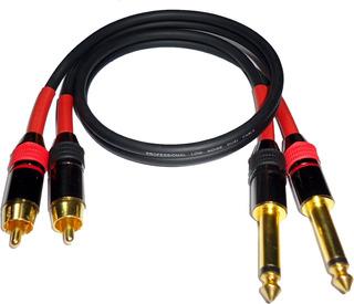 Cable Audio 2 Plug 6,5 Mono A 2 Rca Macho Hq Low Noise 1mts