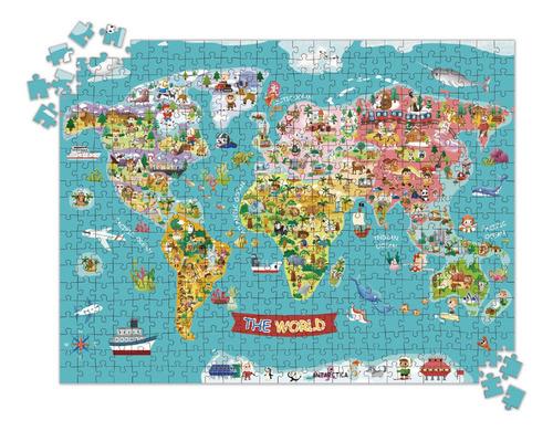 Imagen 1 de 3 de Puzzle Mapa Del Mundo 500pcs Para Niños