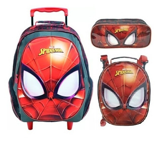Kit Mochila Rodinha + Lancheira + Estojo Spider Man Masked