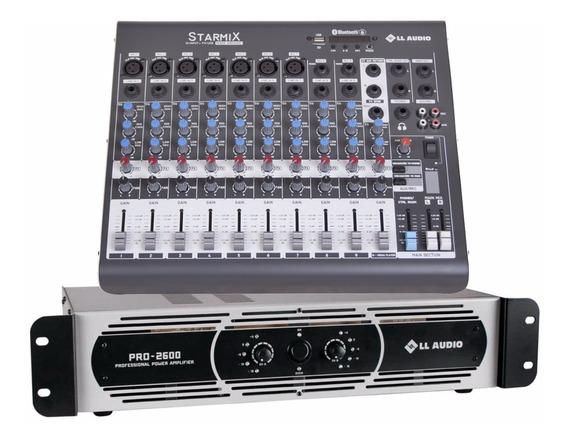 Kit Mesa Som 10 Canais Ll Xms1002d + Potencia Pro 2600 650w