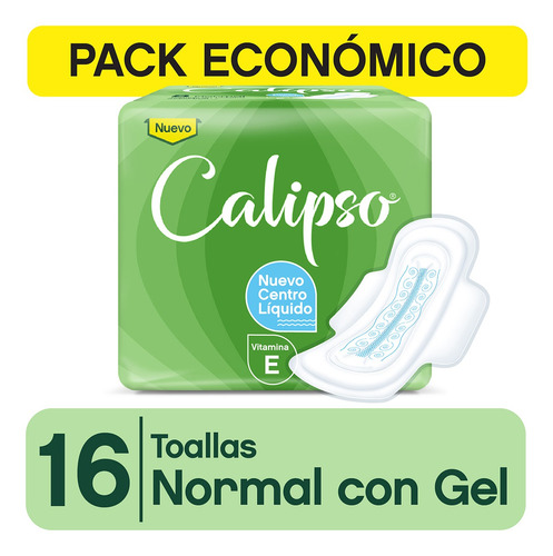 Imagen 1 de 2 de Toallitas Femeninas Calipso Normal Con Gel Y Vit. E X16 Un