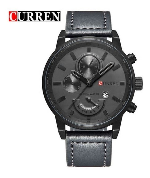Relógio Masculino Analógico Curren Couro Cinza Brinde Caixa