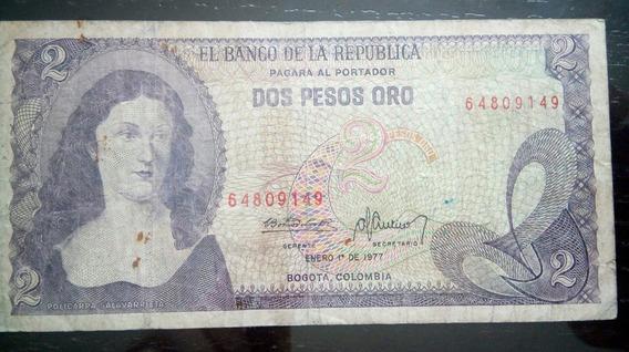 Billete Antiguo Dos Pesos De La República De Colombia - 1977