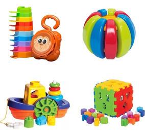 Kit 4 Brinquedos Didáticos Educativo Bebes +8 Meses - Menino