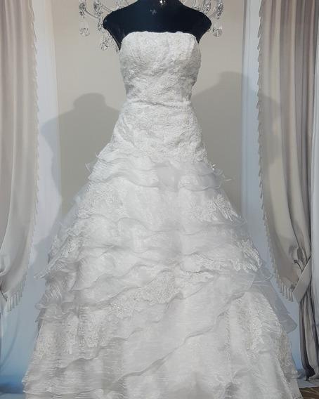 Vestido De Noiva, Usado,branco Com Calda Removível