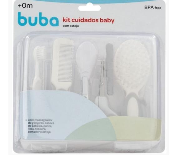 Kit Cuidados Higiene Bebê Escova Cabelo Pente C/ Estojo Buba