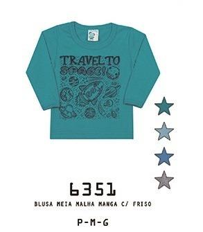 Camiseta Alemara Bebê Manga Longa Space Imperdível Cód: 931