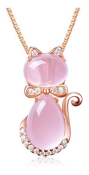 Collar Mujer Plata S925 Pendiente Cristal En Forma De Gato