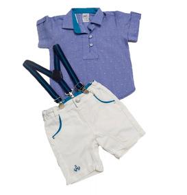 Conjunto Camisa, Bermuda E Suspensório