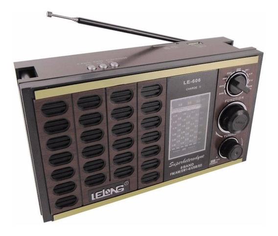 Rádio Antigo Vintage Am Fm Usb Sd Mp3 Recarregável Le-606