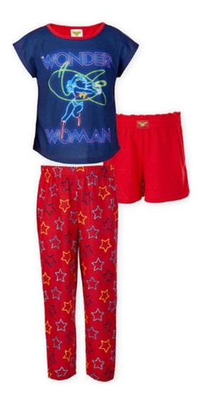 Mujer Maravilla Pijama 3 Piezas Para Niña Original Wonder Woman