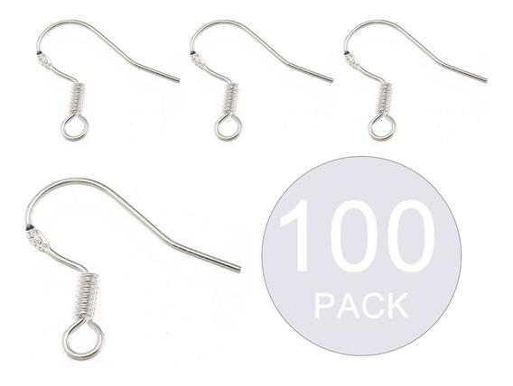Pack 100 Ganchos Para Aros Plata Fina 925 / Todojoyas