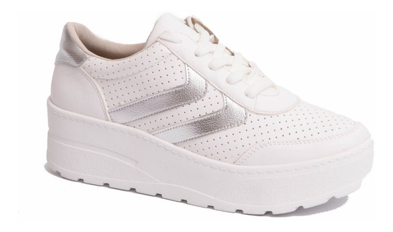Zapatillas Mujer Via Marte Con Plataforma Blancas 18-8601
