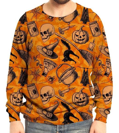 Moletom Raglan Unissex Halloween Abóbora
