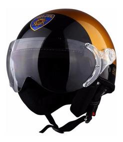 Capacete Kraft Plus Sheriff Dourado Chips Harley + Brinde