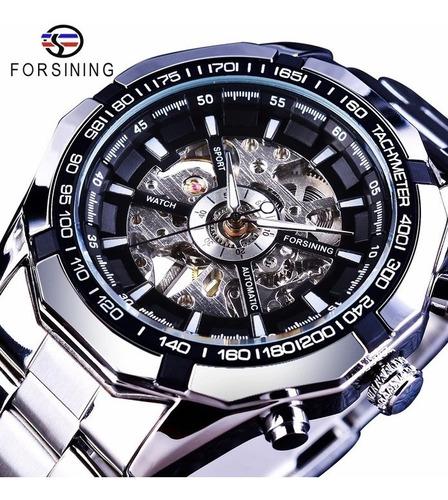 Relógio Forsining Esqueleto Top Luxo De Aço Inoxidável