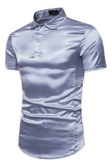 Camisa De Manga Corta Delgada Y Brillante Para Hombre