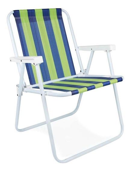 Kit 5 Cadeira De Praia Piscina Em Aço Resistente 110kg Mor