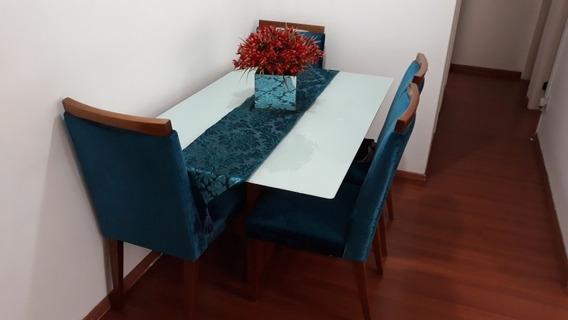 Mesa De Madeira Com Tampo De Vidro Com 4 Cadeiras