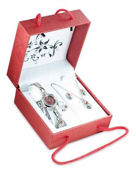 Set De Joyas Reloj+collar+aretes+anillo Modelo Rojo