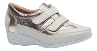 Sapato Feminino Anabela 3140 Couro Off White/metalic/galcê