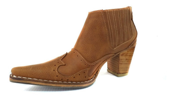 Zapato Mujer Bota Botineta Cuero Suela Artesanal