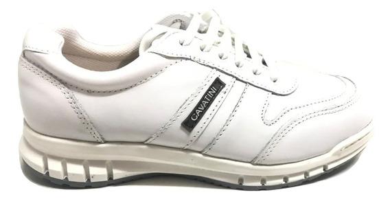 Zapato Cavatini 24-7048- Acordonado Flor Blanco