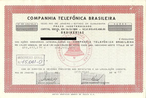 Apólice Companhia Telefônica Brasileira 1969 Vermelha