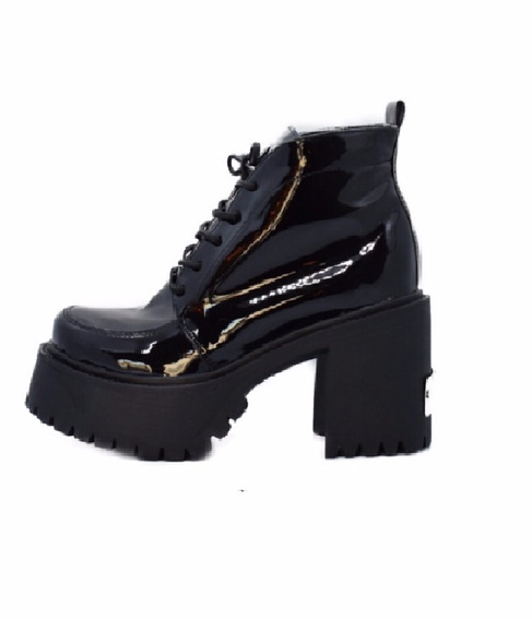 Borcegos Charol Acharolado Plataforma Negro Mujer Zapatos