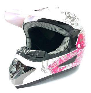 Casco Motocross Enduro Con Visera Estampado Para Dama