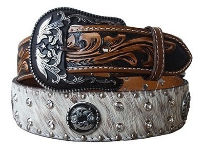 Cinto Country Couro Com Pêlo Strass Tachasarizona Belts 7018