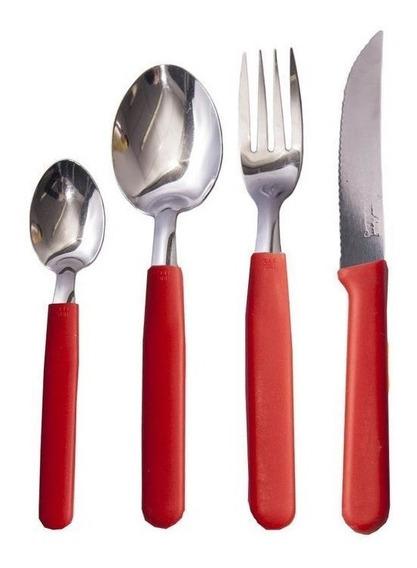 Cubiertos X24 Carol Mango Colores Cuchillo Tenedor Cuchara