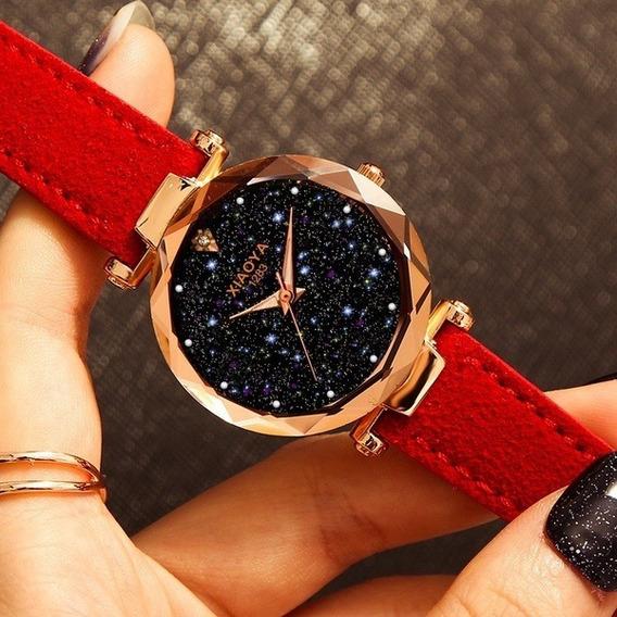 Relógio Feminino Vermelho Dourado Fundo Preto Estrelado