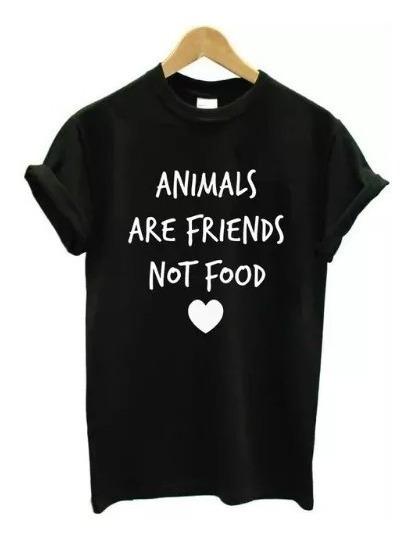 Camiseta Frase Animal Vegetariano Blusa Feminina Algodão Top