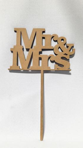 Imagen 1 de 5 de Topper Cake Mrs & Mrs - Mdf / Fibrofacil