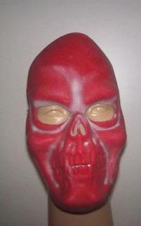 Mascara De Latex Esqueleto Rojo Terror Walloween Oferta