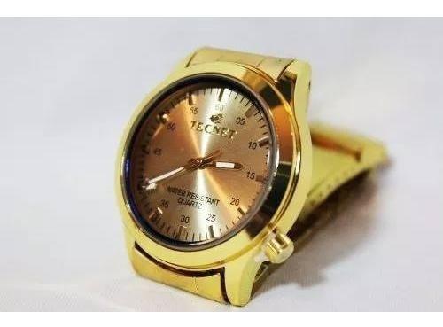Relógio Tecnet Masculino Dourado Pulso